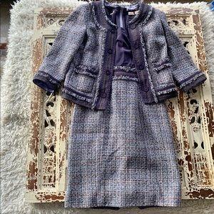 Rebecca Taylor Silk Top Tweed Skirt Set